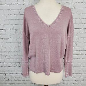 CHASER Pink Vintage Dye Ribbed Long Sleeve Top M